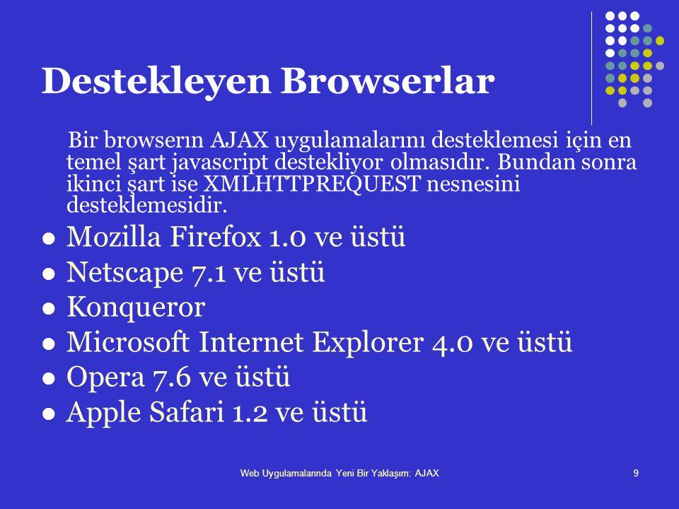 Destekleyen Browserlar