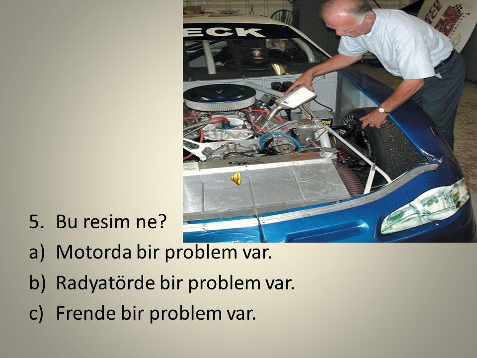 Bu resim ne Motorda bir problem var. Radyatörde bir problem var. Frende bir problem var.