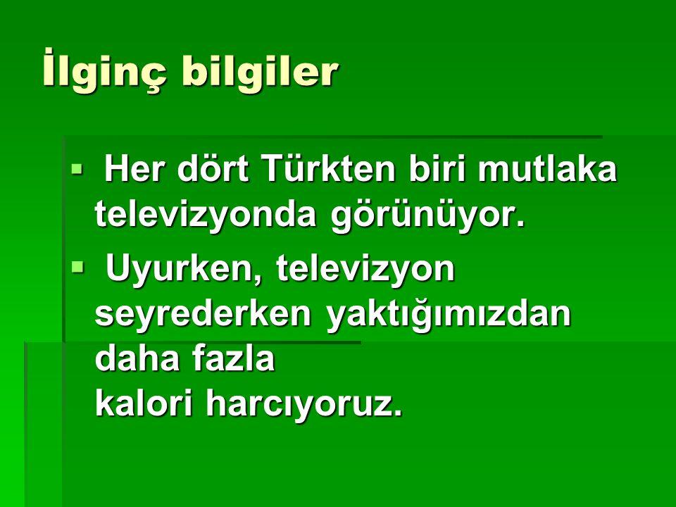 İlginç bilgiler Her dört Türkten biri mutlaka televizyonda görünüyor.