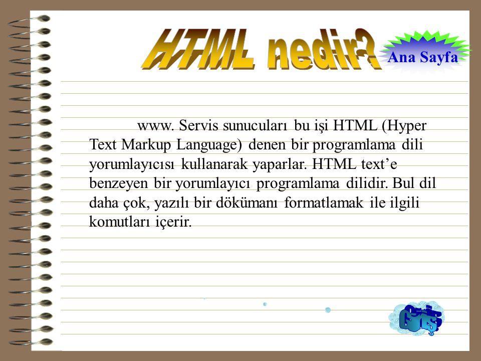 HTML nedir Giriş Ana Sayfa