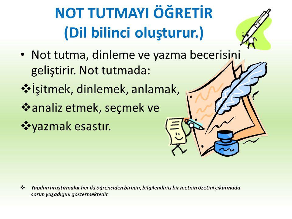 NOT TUTMAYI ÖĞRETİR (Dil bilinci oluşturur.)
