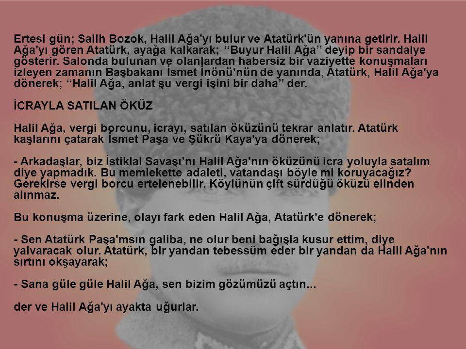 Ertesi gün; Salih Bozok, Halil Ağa yı bulur ve Atatürk ün yanına getirir.
