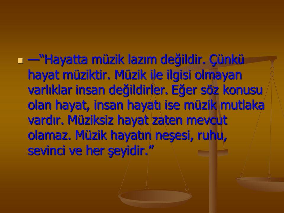 — Hayatta müzik lazım değildir. Çünkü hayat müziktir