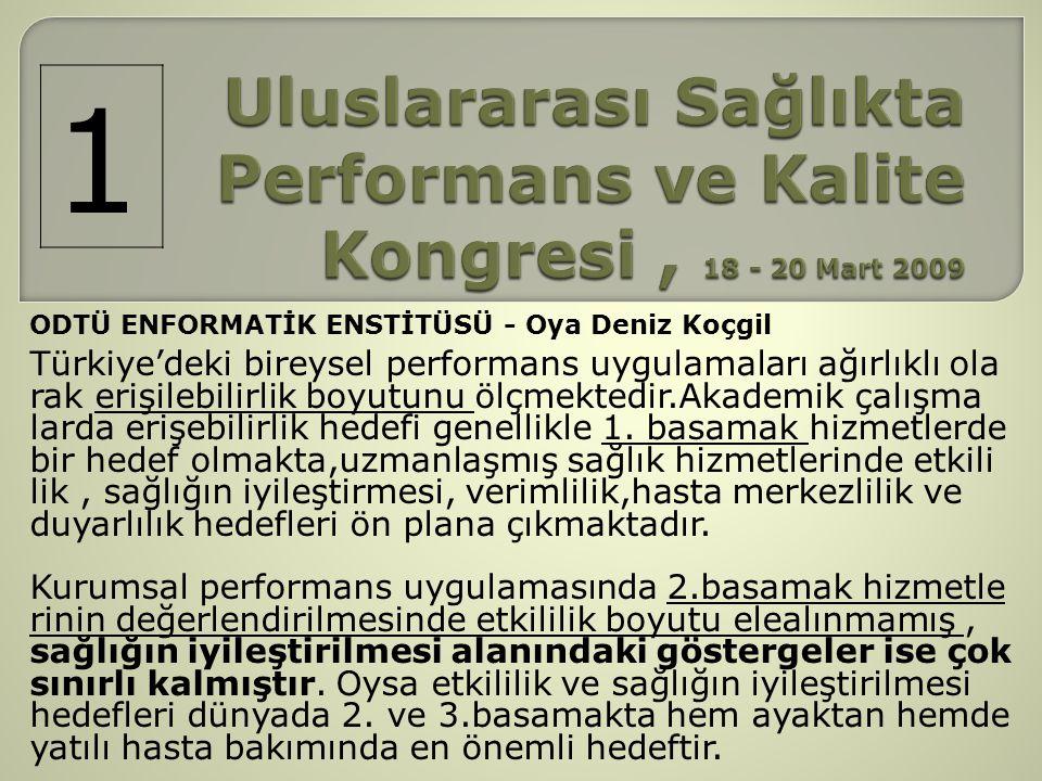 Uluslararası Sağlıkta Performans ve Kalite Kongresi , 18 - 20 Mart 2009