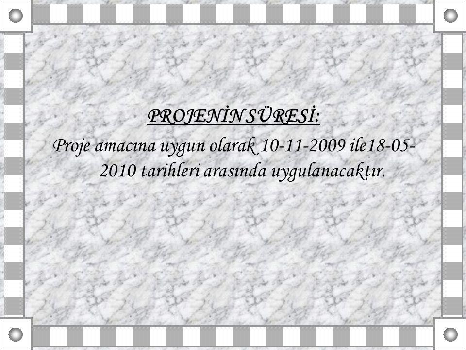 PROJENİN SÜRESİ: Proje amacına uygun olarak 10-11-2009 ile18-05-2010 tarihleri arasında uygulanacaktır.