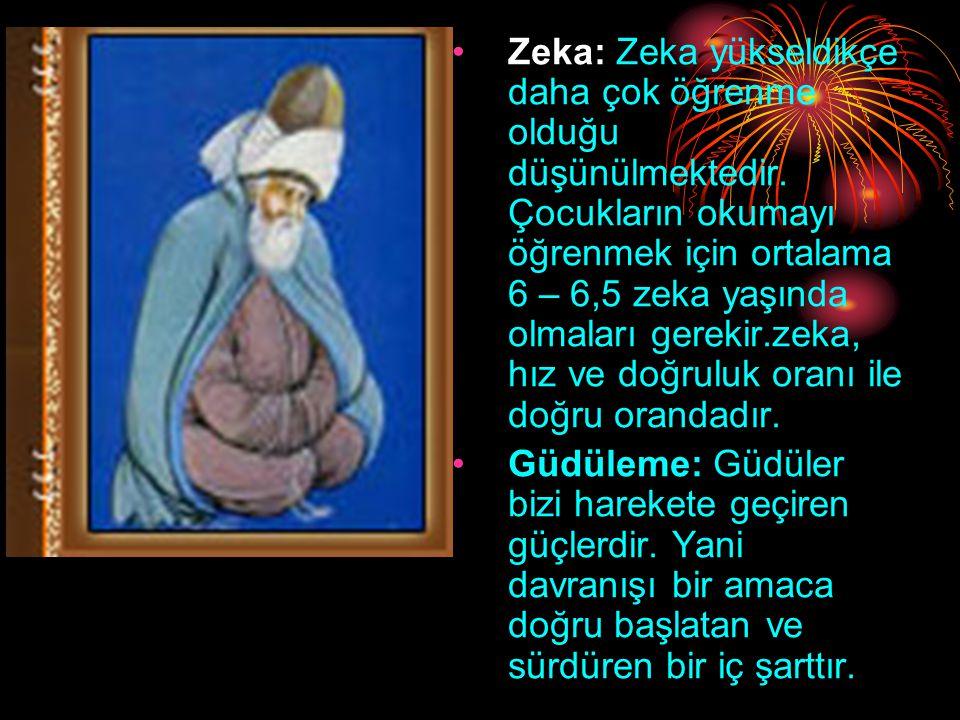 Zeka: Zeka yükseldikçe daha çok öğrenme olduğu düşünülmektedir