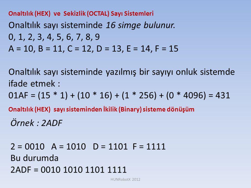 Onaltılık sayı sisteminde 16 simge bulunur.
