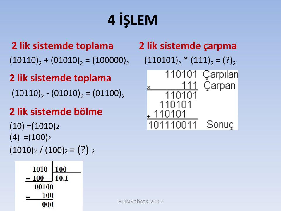 4 İŞLEM 2 lik sistemde toplama 2 lik sistemde çarpma