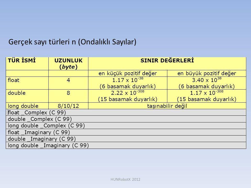 Gerçek sayı türleri n (Ondalıklı Sayılar)
