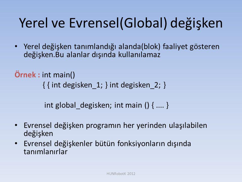 Yerel ve Evrensel(Global) değişken