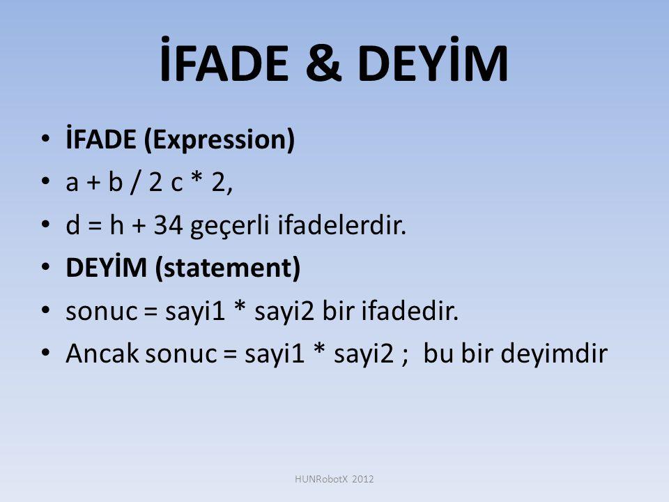 İFADE & DEYİM İFADE (Expression) a + b / 2 c * 2,