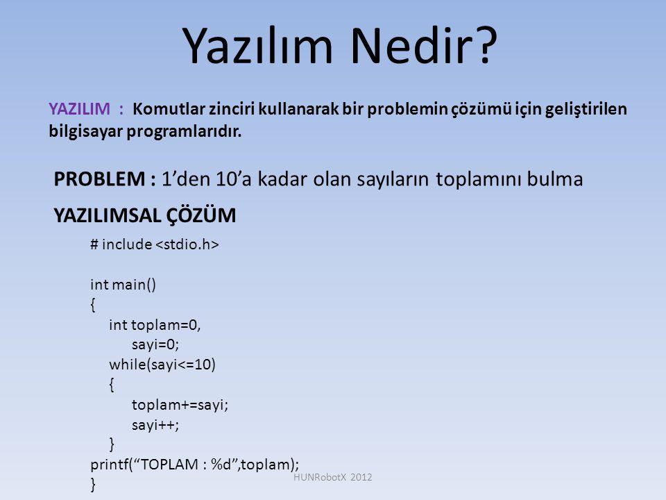 Yazılım Nedir YAZILIM : Komutlar zinciri kullanarak bir problemin çözümü için geliştirilen bilgisayar programlarıdır.