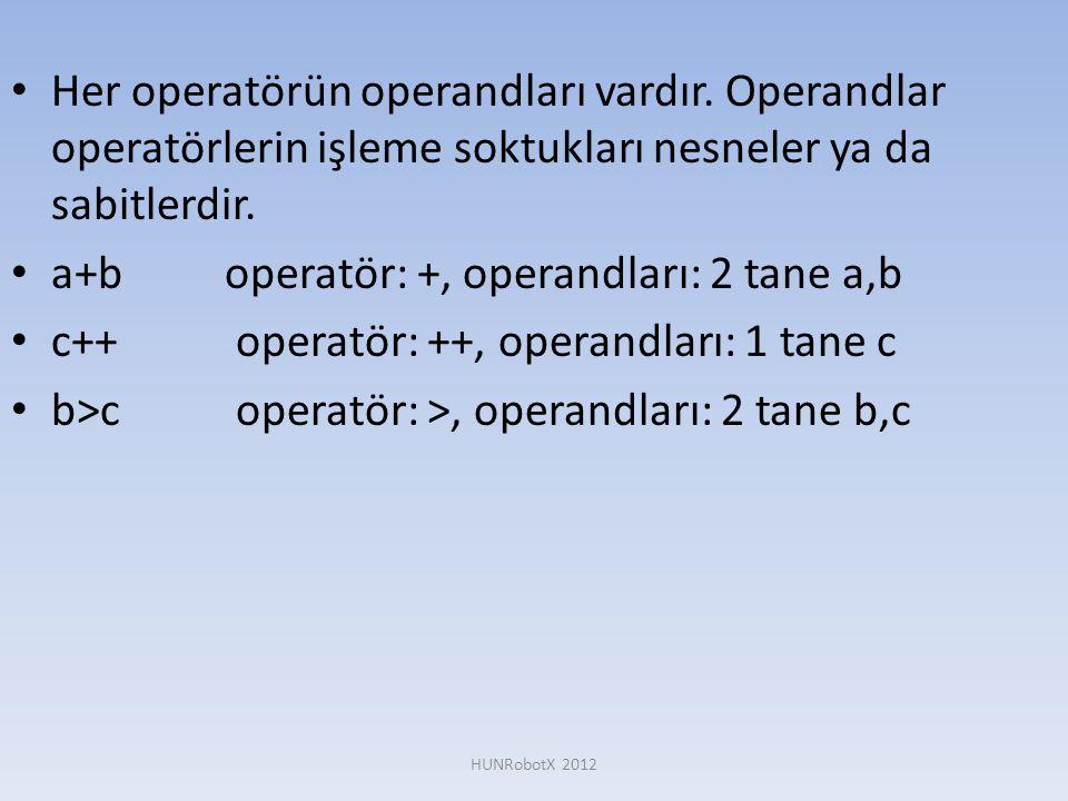a+b operatör: +, operandları: 2 tane a,b