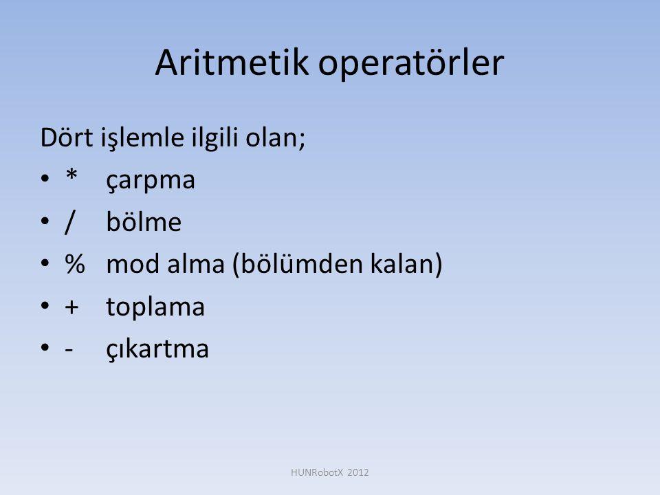 Aritmetik operatörler