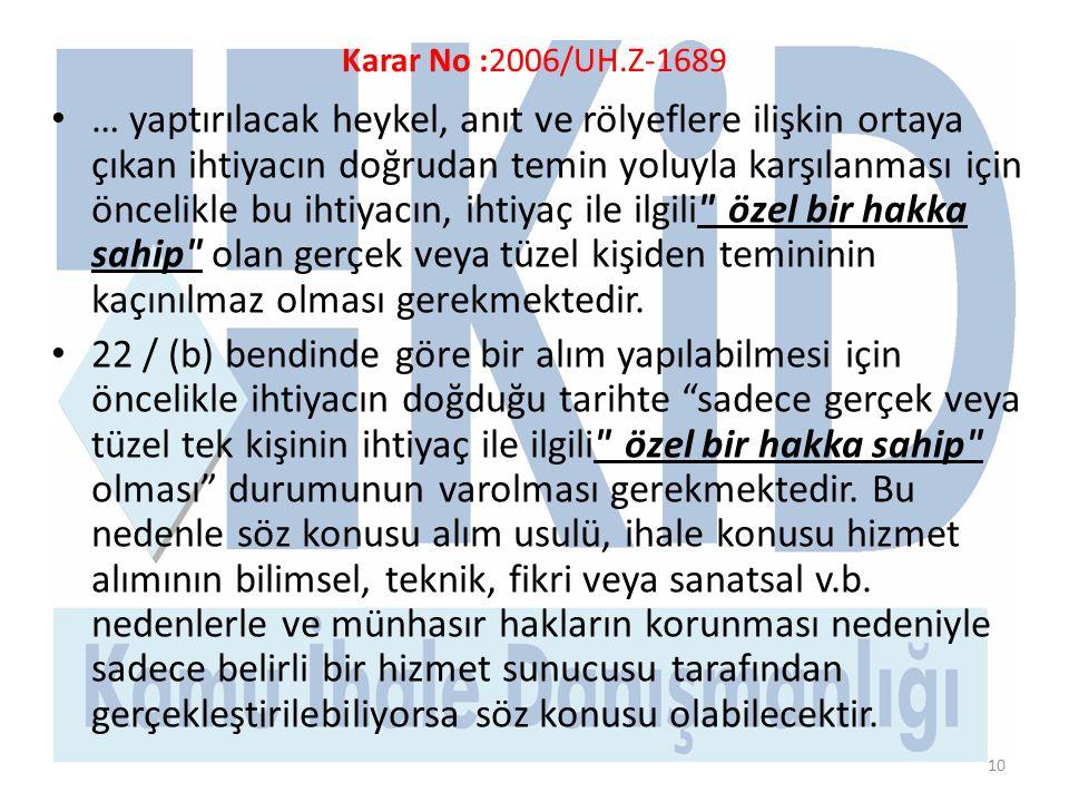 Karar No :2006/UH.Z-1689