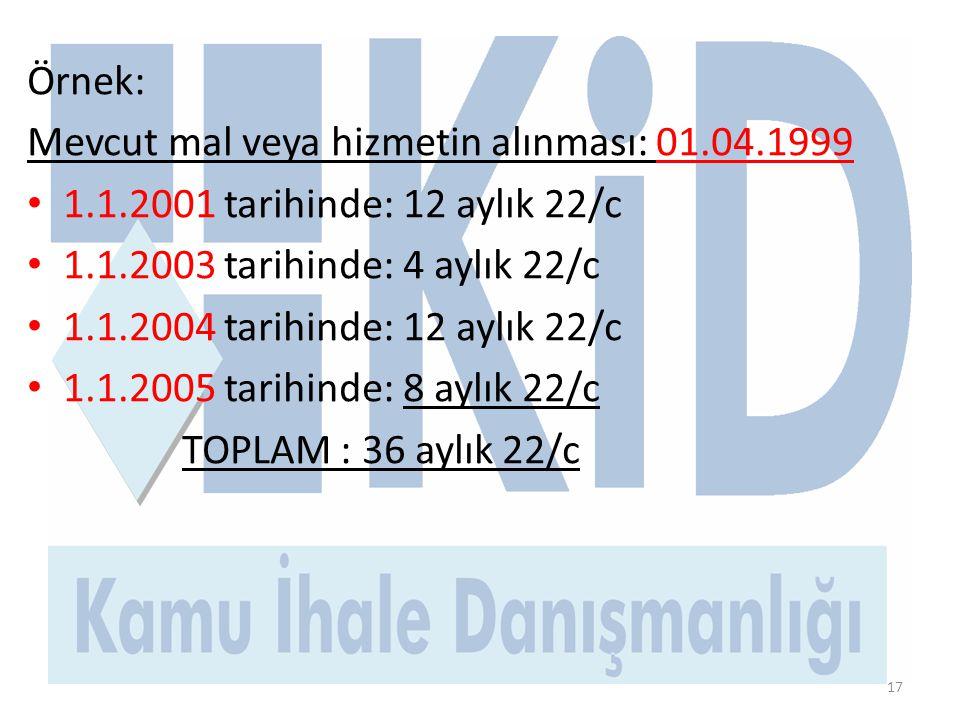 Örnek: Mevcut mal veya hizmetin alınması: 01.04.1999. 1.1.2001 tarihinde: 12 aylık 22/c. 1.1.2003 tarihinde: 4 aylık 22/c.