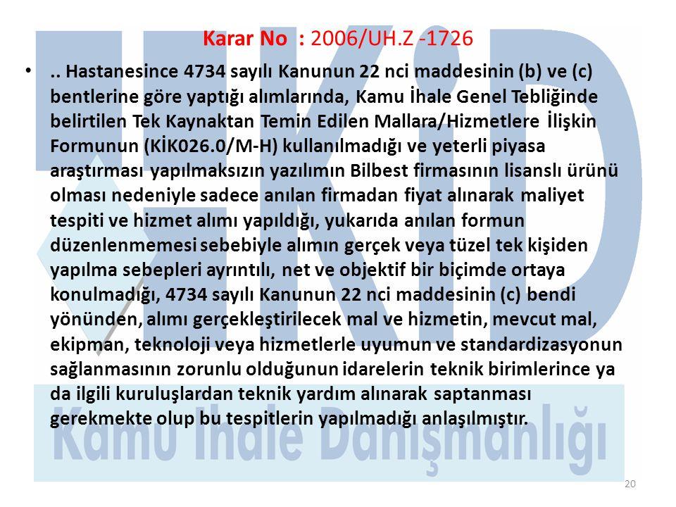 Karar No : 2006/UH.Z -1726