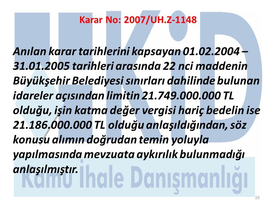 Karar No: 2007/UH.Z-1148