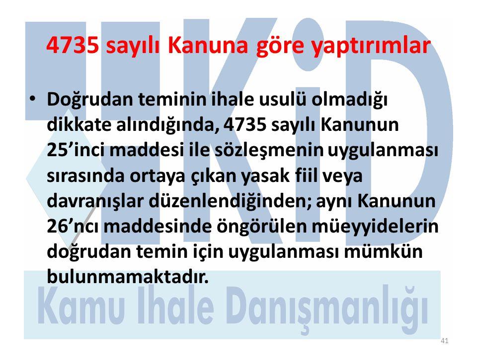 4735 sayılı Kanuna göre yaptırımlar