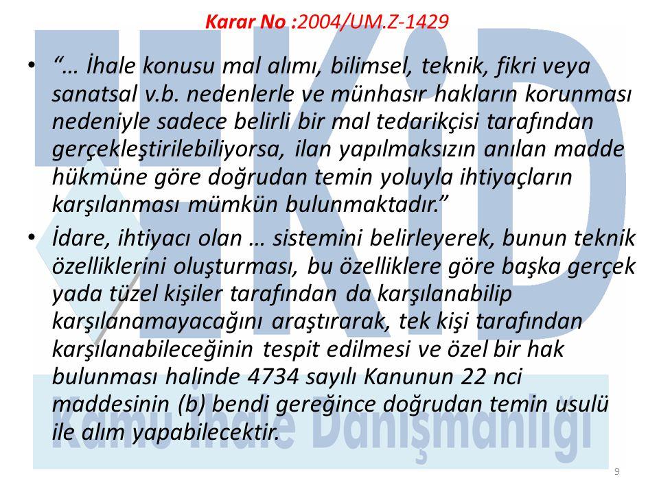 Karar No :2004/UM.Z-1429