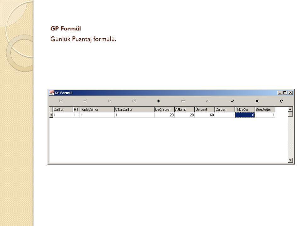 GP Formül Günlük Puantaj formülü.