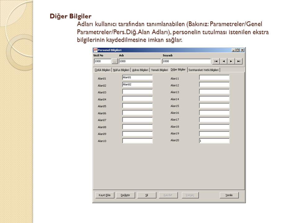 Diğer Bilgiler Adları kullanıcı tarafından tanımlanabilen (Bakınız: Parametreler/Genel Parametreler/Pers.Diğ.Alan Adları), personelin tutulması istenilen ekstra bilgilerinin kaydedilmesine imkan sağlar.