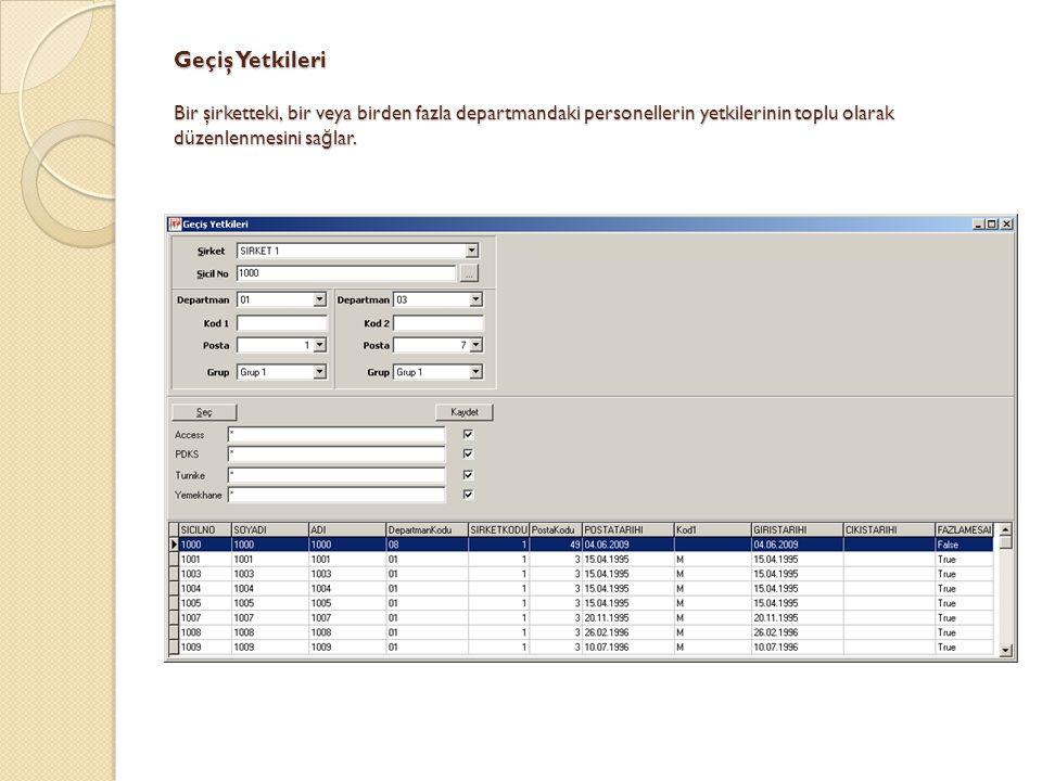 Geçiş Yetkileri Bir şirketteki, bir veya birden fazla departmandaki personellerin yetkilerinin toplu olarak düzenlenmesini sağlar.