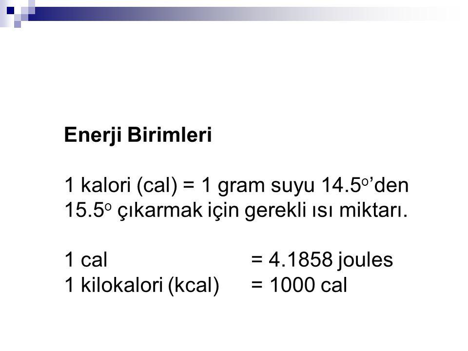 Enerji Birimleri 1 kalori (cal) = 1 gram suyu 14.5o'den 15.5o çıkarmak için gerekli ısı miktarı. 1 cal = 4.1858 joules.