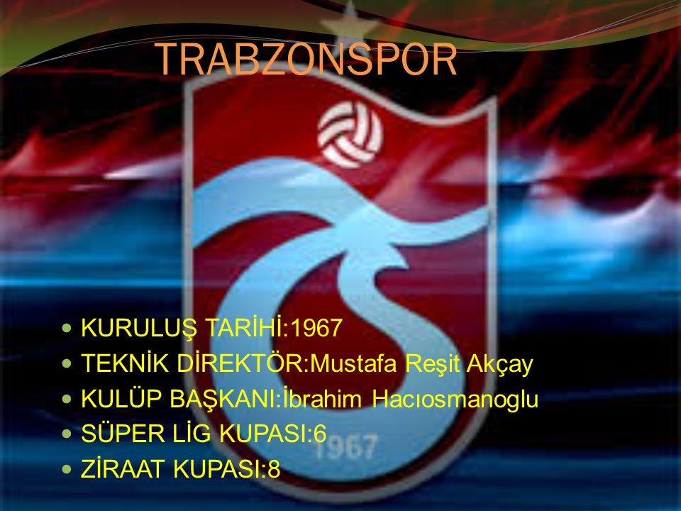 TRABZONSPOR KURULUŞ TARİHİ:1967 TEKNİK DİREKTÖR:Mustafa Reşit Akçay