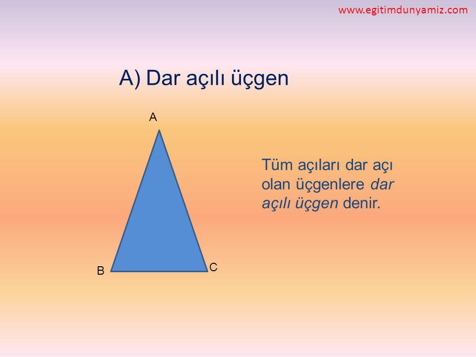 www.egitimdunyamiz.com A) Dar açılı üçgen. A. Tüm açıları dar açı olan üçgenlere dar açılı üçgen denir.