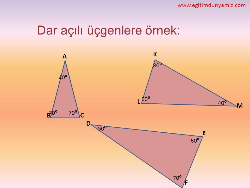 Dar açılı üçgenlere örnek: