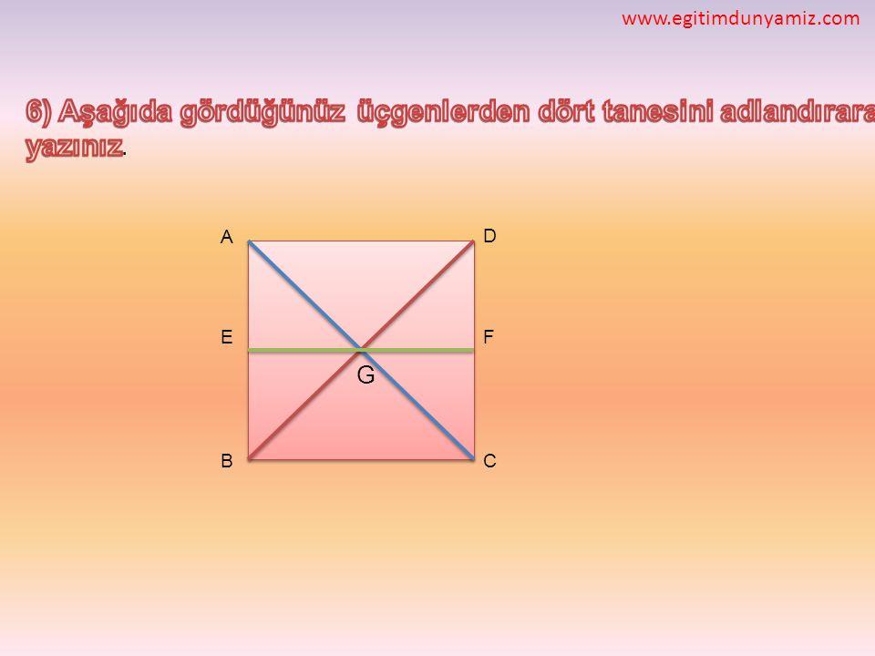6) Aşağıda gördüğünüz üçgenlerden dört tanesini adlandırarak yazınız.