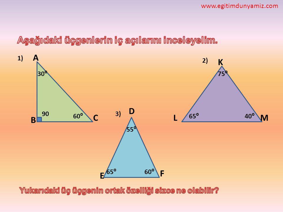 Aşağıdaki üçgenlerin iç açılarını inceleyelim.