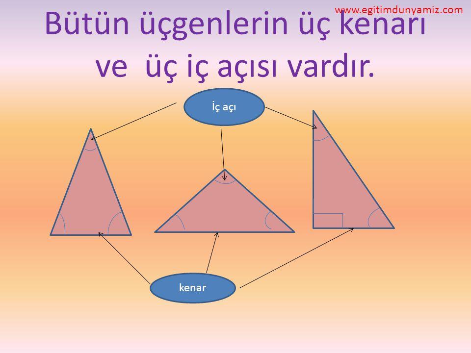Bütün üçgenlerin üç kenarı ve üç iç açısı vardır.