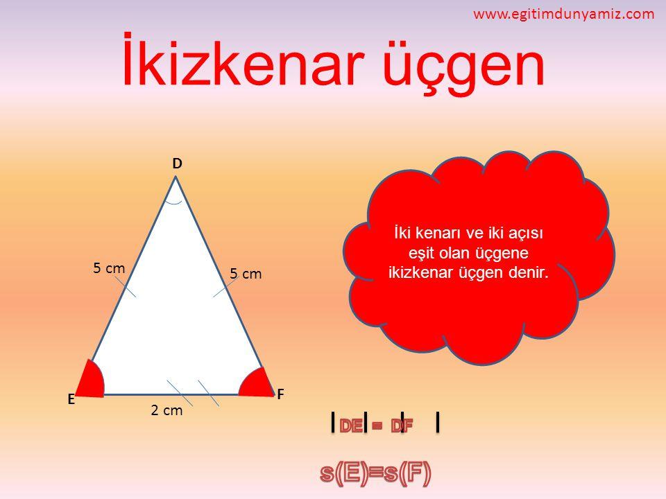 İki kenarı ve iki açısı eşit olan üçgene ikizkenar üçgen denir.