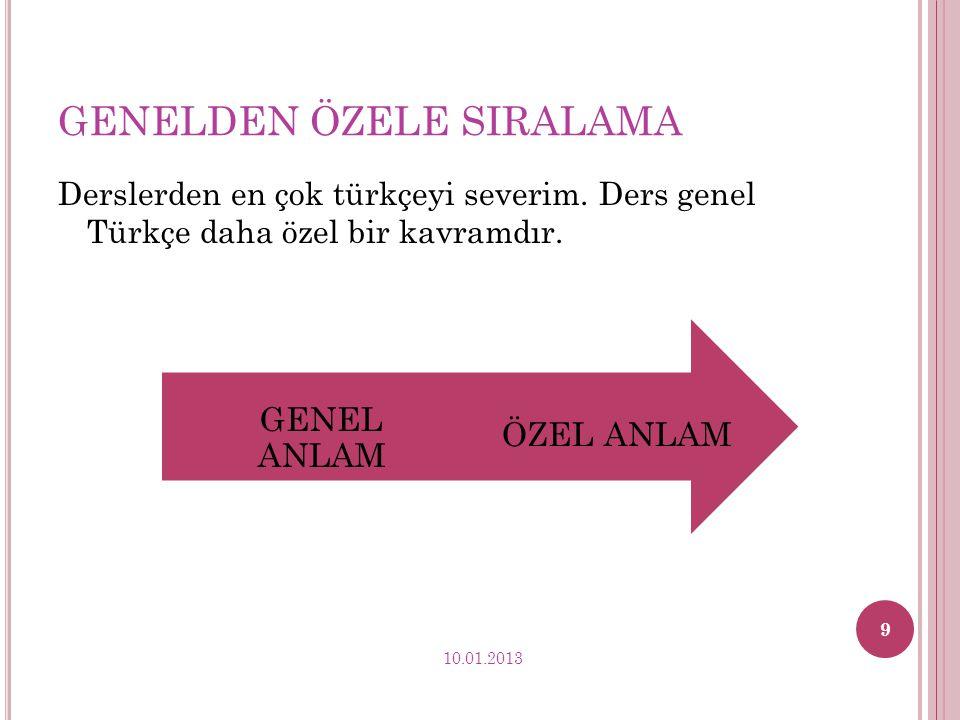 GENELDEN ÖZELE SIRALAMA