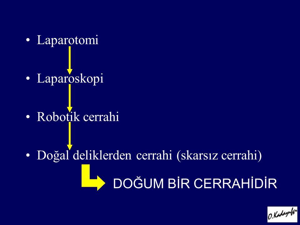 Laparotomi Laparoskopi. Robotik cerrahi.
