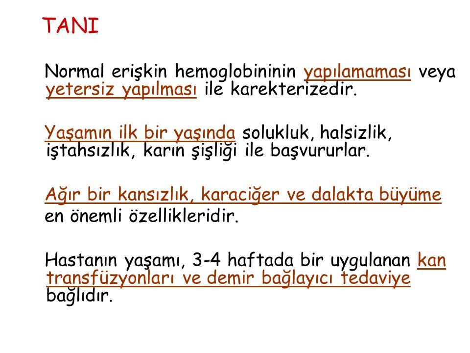 TANI Normal erişkin hemoglobininin yapılamaması veya yetersiz yapılması ile karekterizedir.