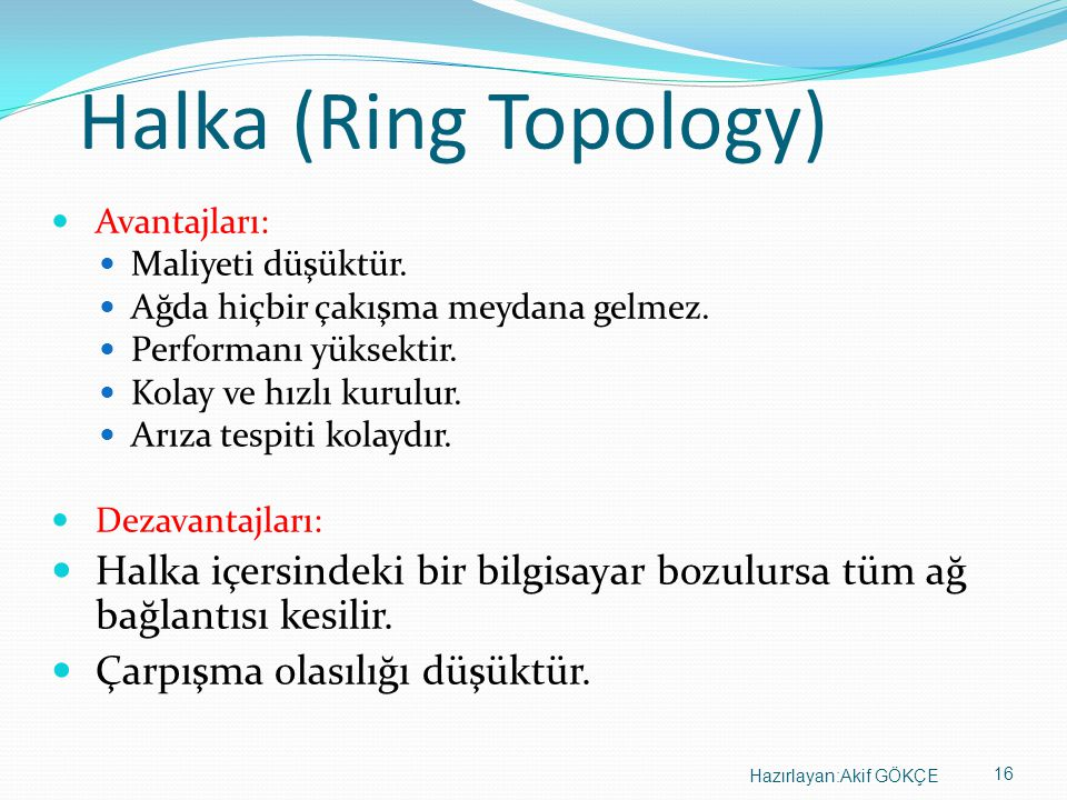 Halka (Ring Topology) Avantajları: Maliyeti düşüktür. Ağda hiçbir çakışma meydana gelmez. Performanı yüksektir.