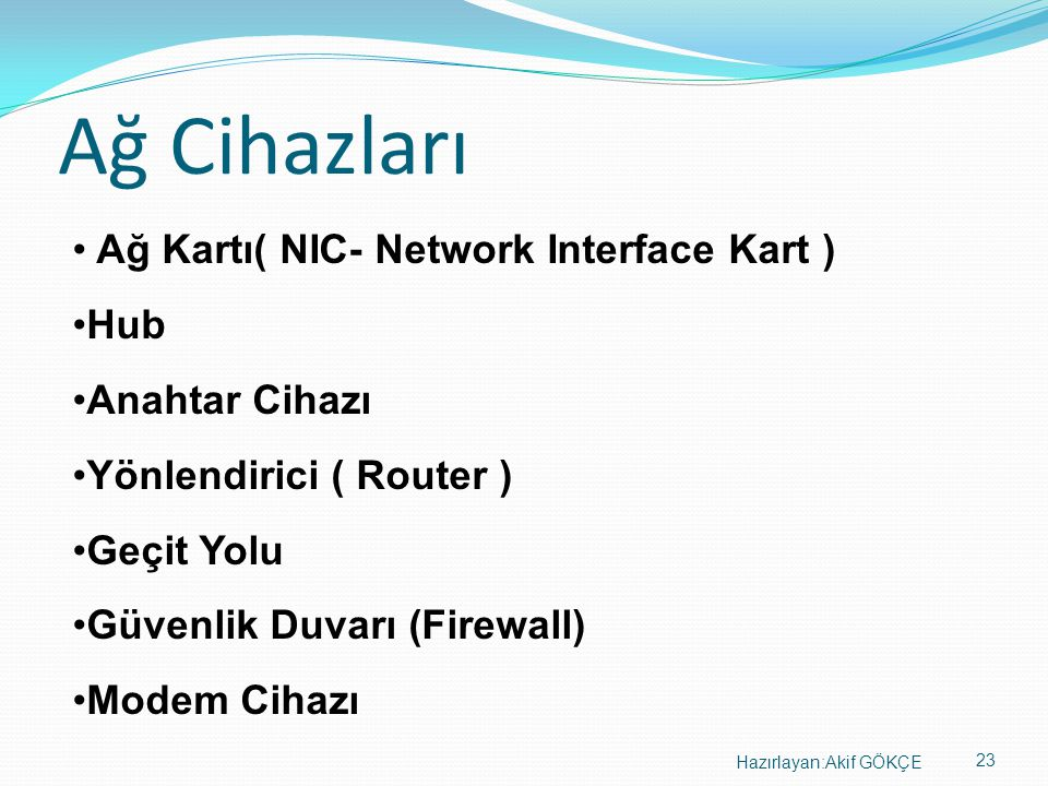 Ağ Cihazları Ağ Kartı( NIC- Network Interface Kart ) Hub