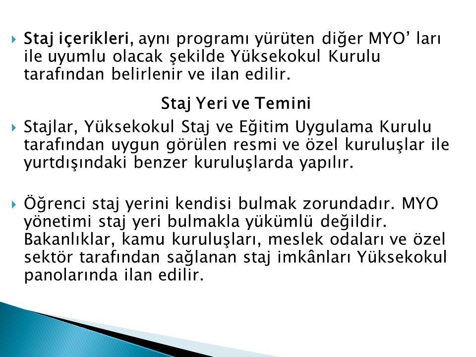 Staj içerikleri, aynı programı yürüten diğer MYO' ları ile uyumlu olacak şekilde Yüksekokul Kurulu tarafından belirlenir ve ilan edilir.