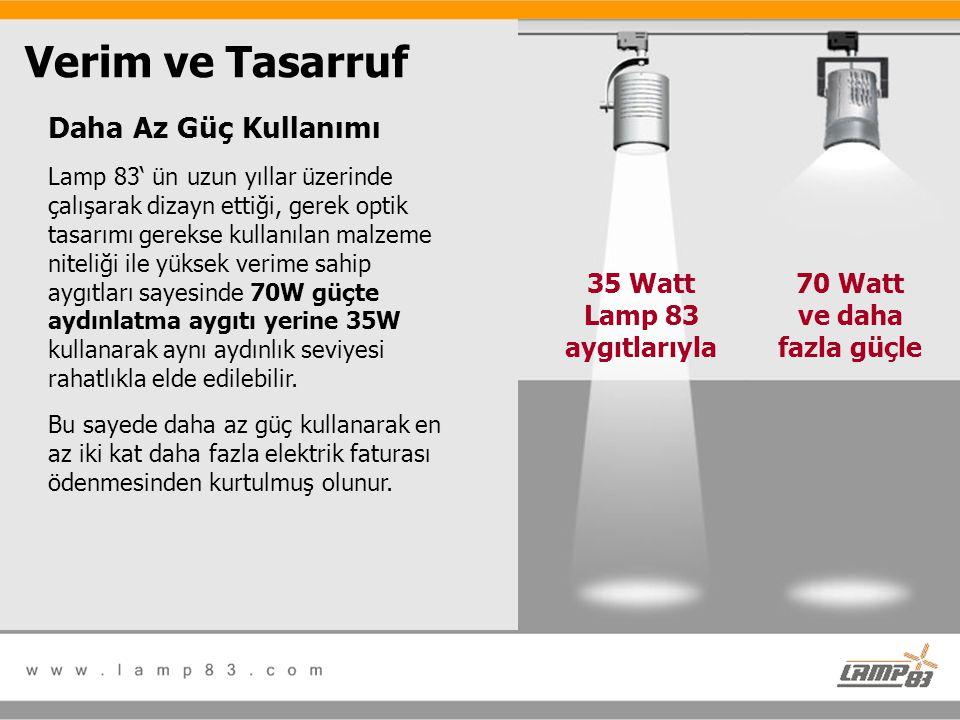 35 Watt Lamp 83 aygıtlarıyla 70 Watt ve daha fazla güçle