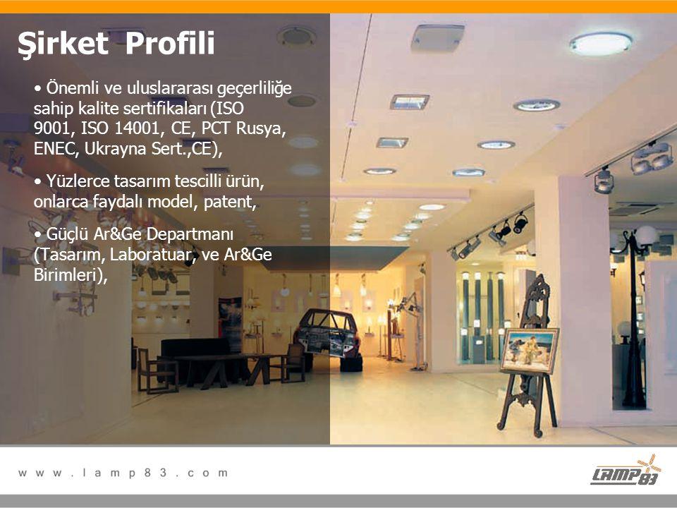 Şirket Profili Önemli ve uluslararası geçerliliğe sahip kalite sertifikaları (ISO 9001, ISO 14001, CE, PCT Rusya, ENEC, Ukrayna Sert.,CE),