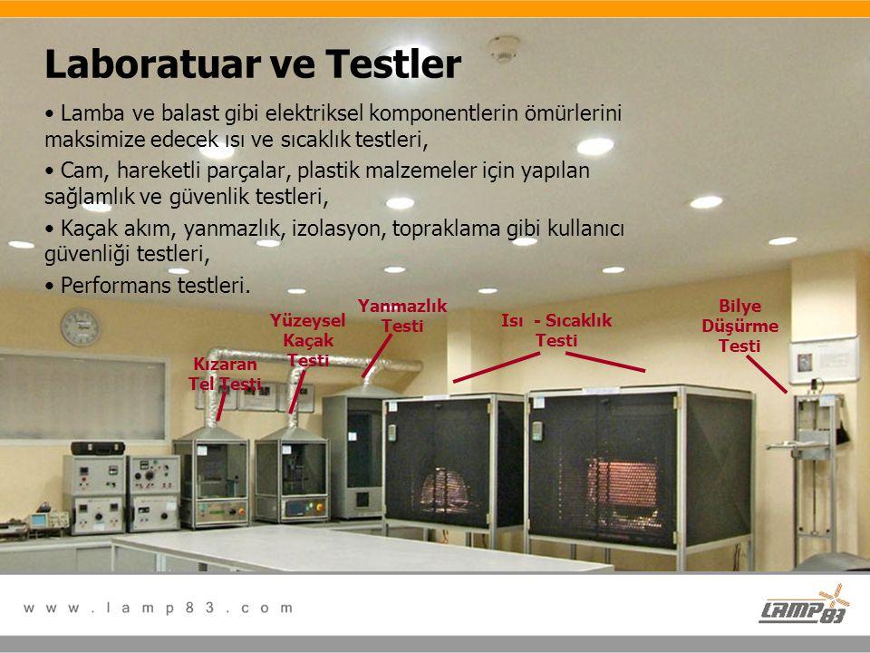 Laboratuar ve Testler Lamba ve balast gibi elektriksel komponentlerin ömürlerini maksimize edecek ısı ve sıcaklık testleri,