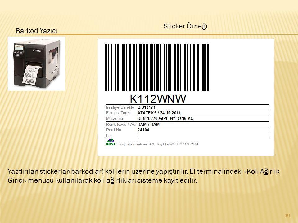 Sticker Örneği Barkod Yazıcı.