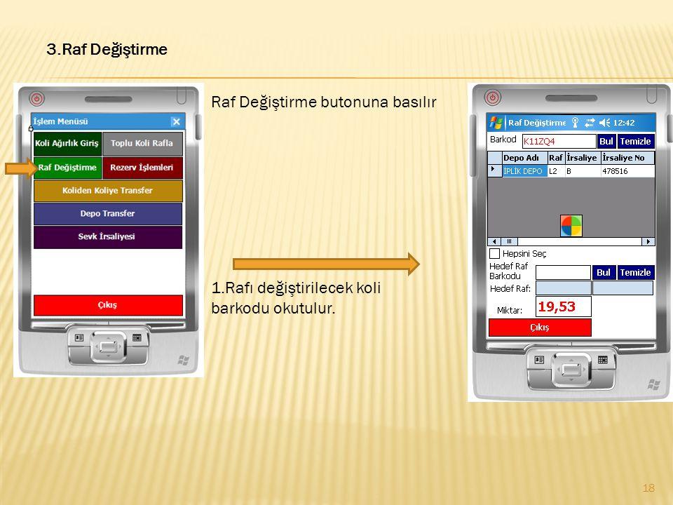 3.Raf Değiştirme Raf Değiştirme butonuna basılır 1.Rafı değiştirilecek koli barkodu okutulur.