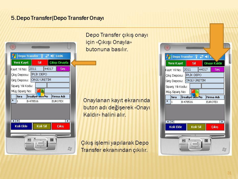 5.Depo Transfer(Depo Transfer Onayı