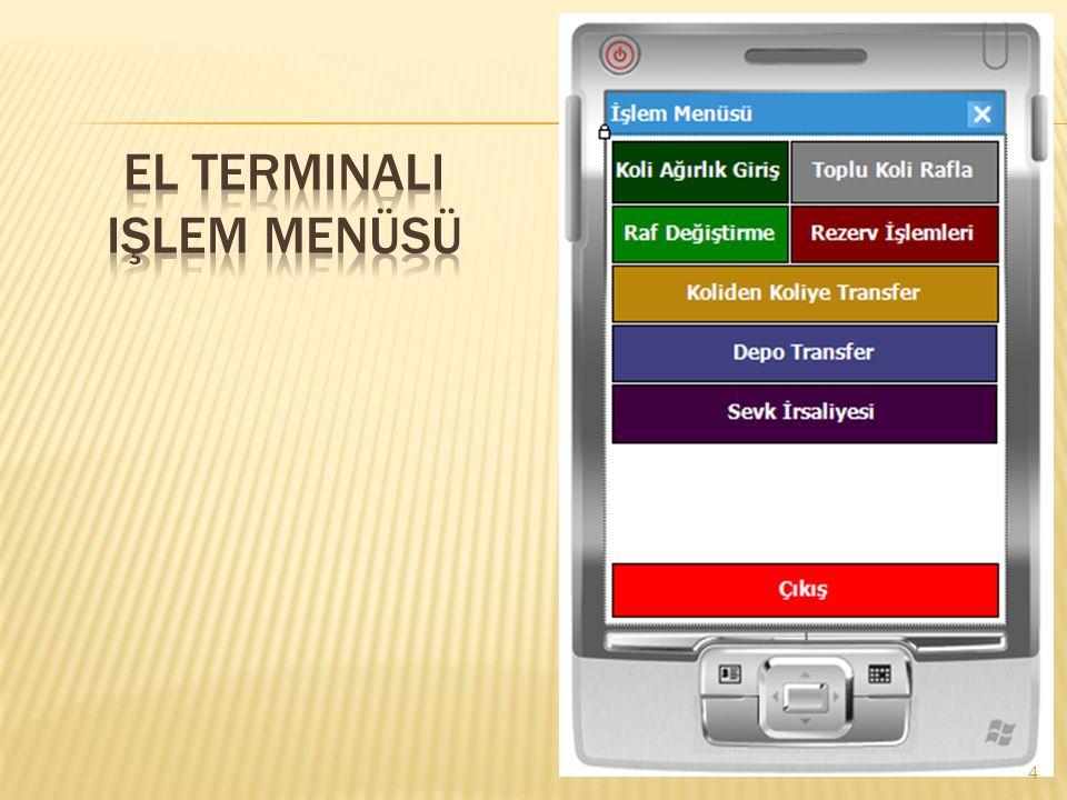 El terminali işlem menüsü