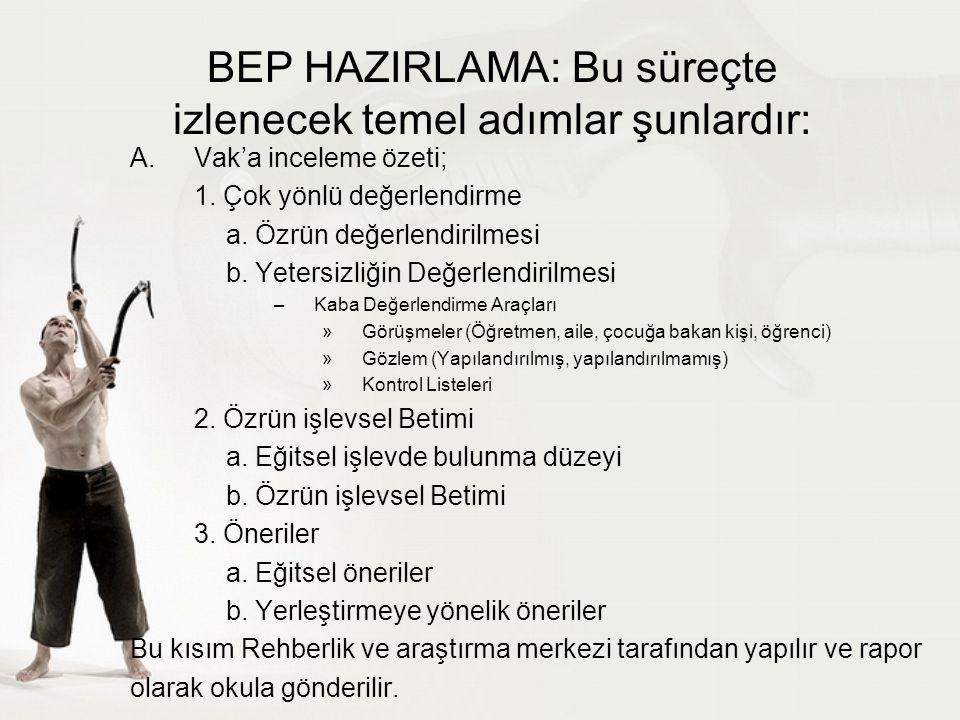 BEP HAZIRLAMA: Bu süreçte izlenecek temel adımlar şunlardır: