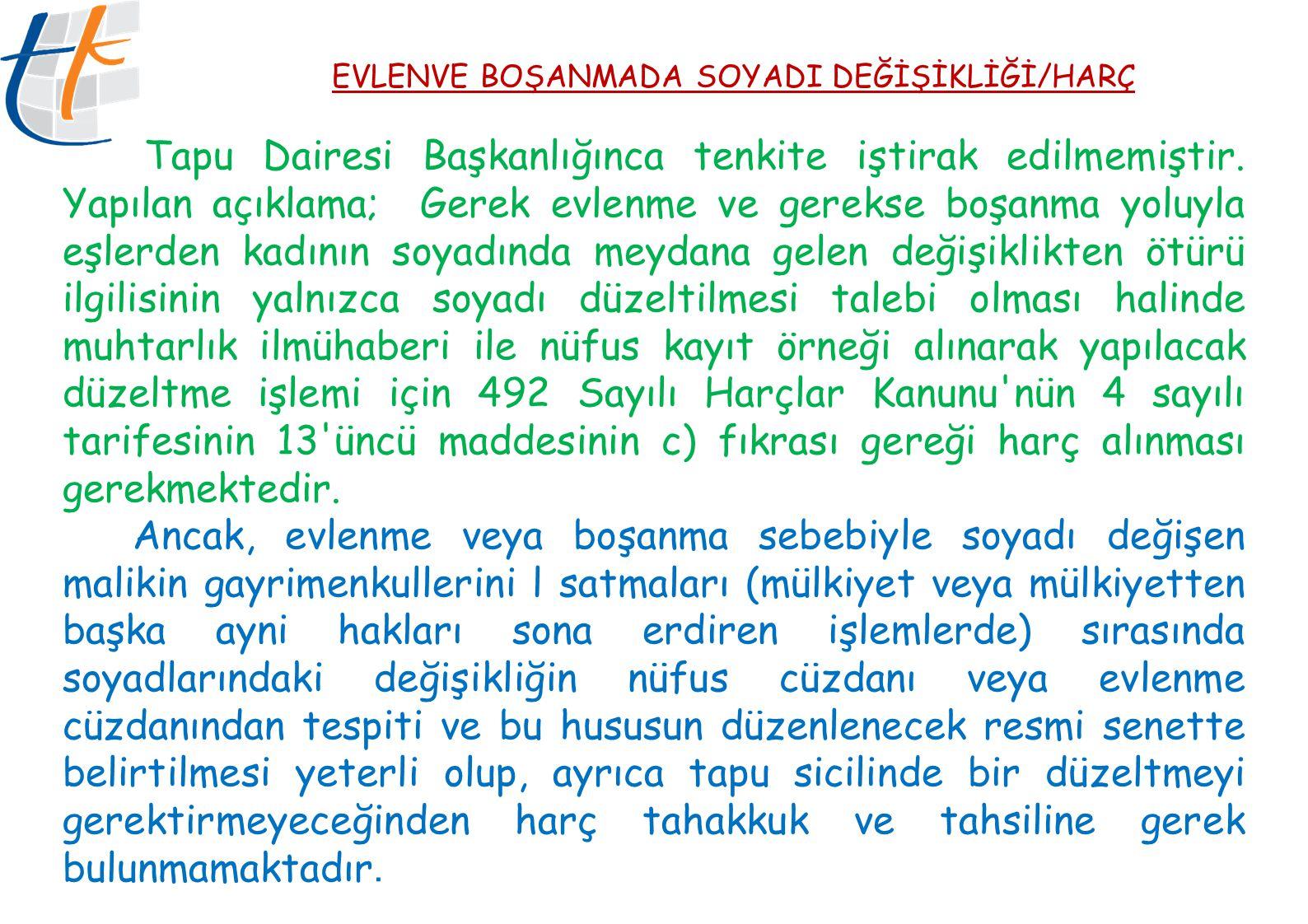 EVLENVE BOŞANMADA SOYADI DEĞİŞİKLİĞİ/HARÇ